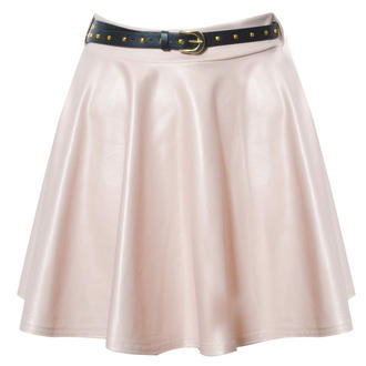 View Item Nude Belted Skater Skirt